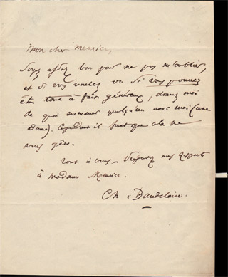 Autograph letter signed by Baudelaire