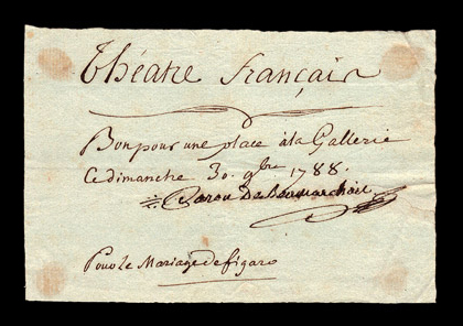 Beaumarchais autographe note signed