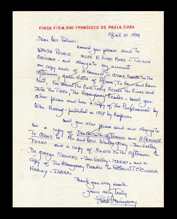autographe letter signed by Hemingway
