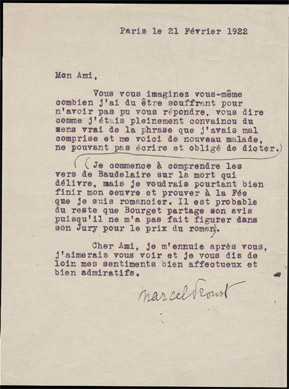 Letter signed by Proust