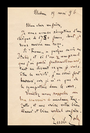 autographe letter signed by Emile Zola