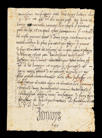 autographe letter signed by francis I of France
