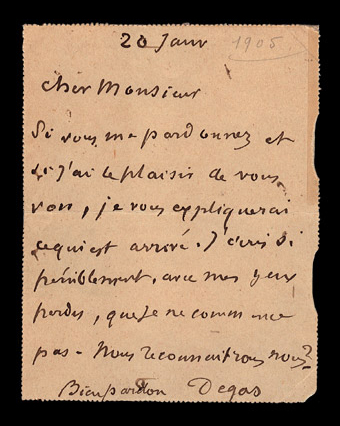 autograph letter signed by Degas